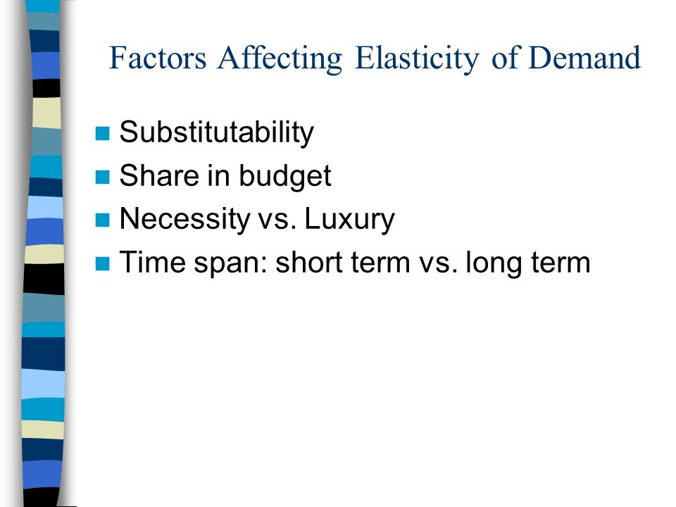 Factors Affecting Elasticity of Demand Substitutability Share in budget Necessity vs.