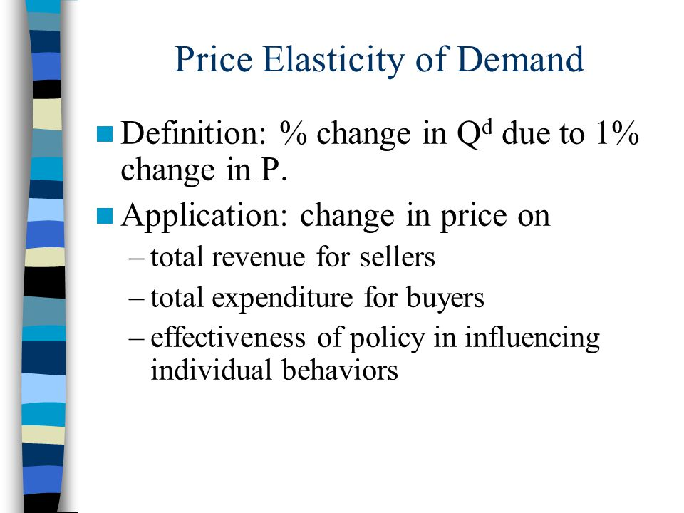 Price Elasticity of Demand Definition: % change in Q d due to 1% change in P.