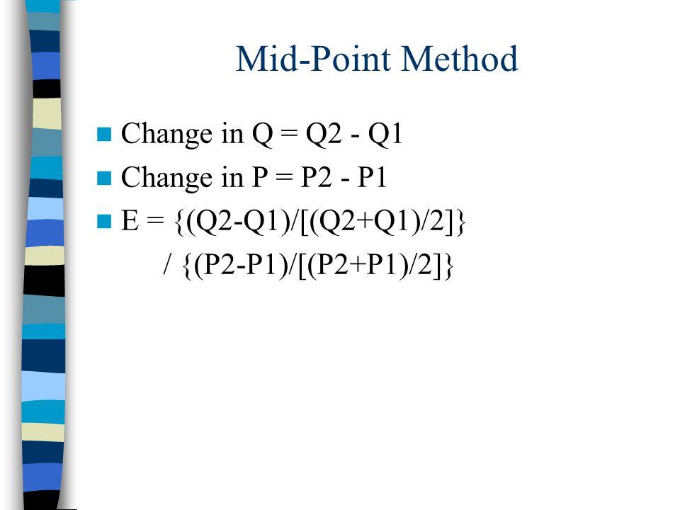 Mid-Point Method Change in Q = Q2 - Q1 Change in P = P2 - P1 E = {(Q2-Q1)/[(Q2+Q1)/2]} / {(P2-P1)/[(P2+P1)/2]}