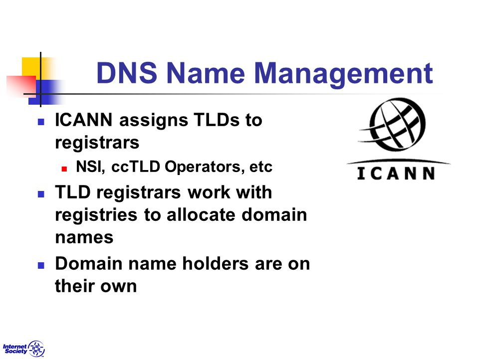 DNS Name Management ICANN assigns TLDs to registrars NSI, ccTLD Operators, etc TLD registrars work with registries to allocate domain names Domain name holders are on their own