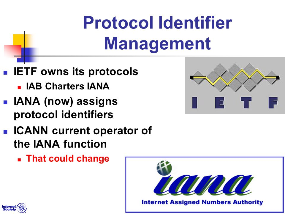 Protocol Identifier Management IETF owns its protocols IAB Charters IANA IANA (now) assigns protocol identifiers ICANN current operator of the IANA function That could change