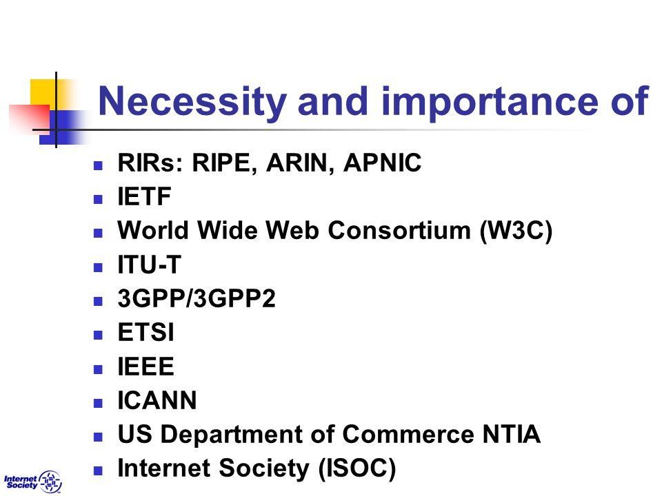 Necessity and importance of RIRs: RIPE, ARIN, APNIC IETF World Wide Web Consortium (W3C) ITU-T 3GPP/3GPP2 ETSI IEEE ICANN US Department of Commerce NTIA Internet Society (ISOC)