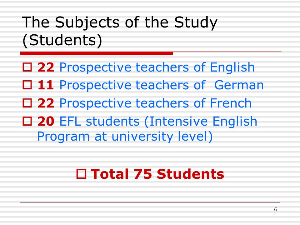 17 The Reasons for Integrating Culture Teaching in Foreign Language Teaching  Positive effect on second language development 70,5 %  More effective communication with foreigners 61,6 %  Preparing students for multicultural environments 57,1 %  Impossibility of teaching language without teaching culture 41 %  More tolerance towards other cultures 33,9 %  Teaching involuntarily due to presence in syllabi17,8 % Higher percentages for more effective communication with foreigners and second language development Relatively higher percentages for all items by teachers of German and French Relatively lower percentages for all items by High School EFL teachers