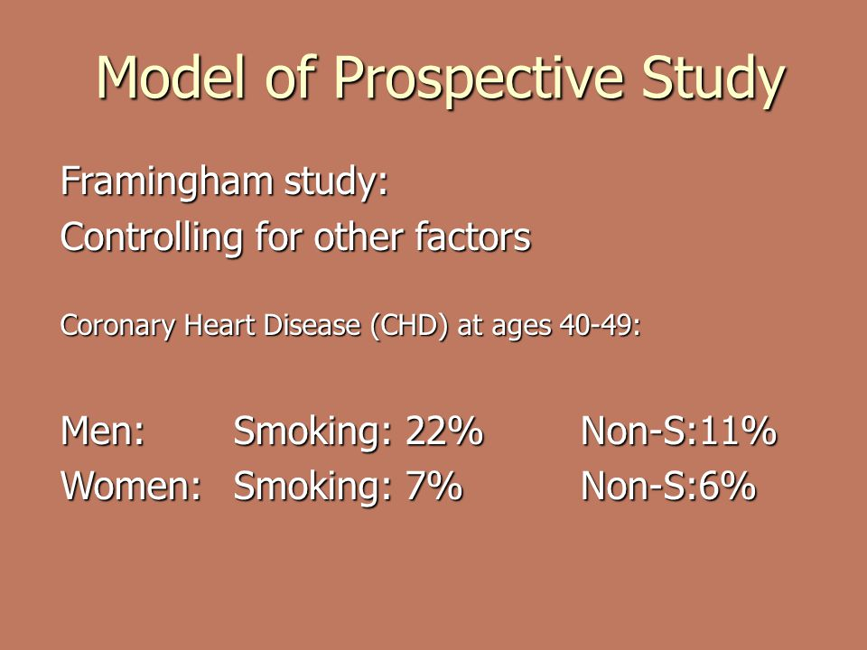 Model of Prospective Study Framingham study: Controlling for other factors Coronary Heart Disease (CHD) at ages 40-49: Men: Smoking: 22%Non-S:11% Women: Smoking: 7%Non-S:6%