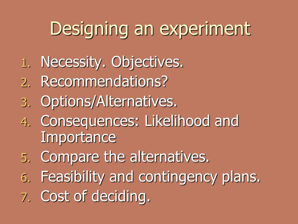 Designing an experiment 1.Necessity. Objectives. 2.
