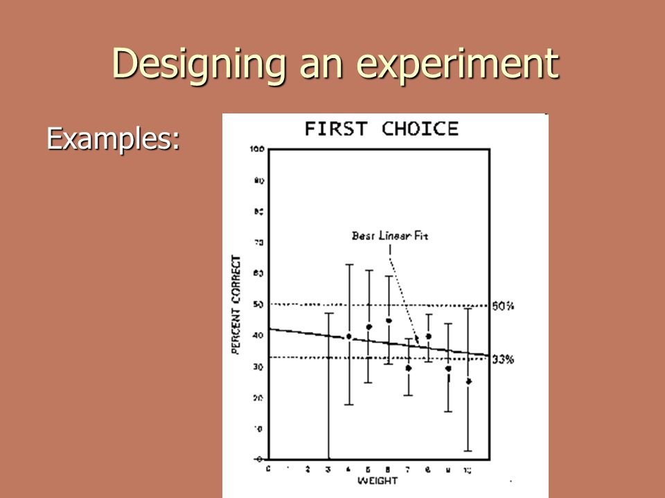 Designing an experiment Examples: