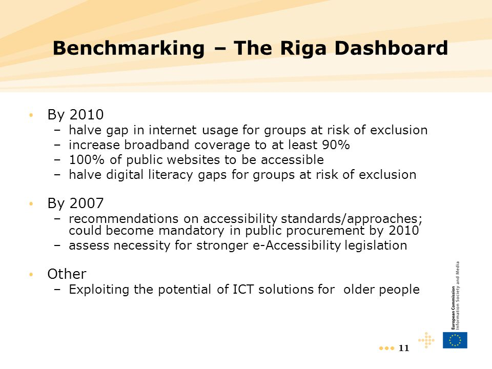 11 Benchmarking – The Riga Dashboard By 2010 –halve gap in internet usage for groups at risk of exclusion –increase broadband coverage to at least 90% –100% of public websites to be accessible –halve digital literacy gaps for groups at risk of exclusion By 2007 –recommendations on accessibility standards/approaches; could become mandatory in public procurement by 2010 –assess necessity for stronger e-Accessibility legislation Other –Exploiting the potential of ICT solutions for older people