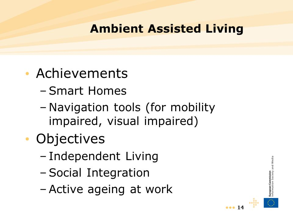 14 Ambient Assisted Living Achievements –Smart Homes –Navigation tools (for mobility impaired, visual impaired) Objectives –Independent Living –Social Integration –Active ageing at work