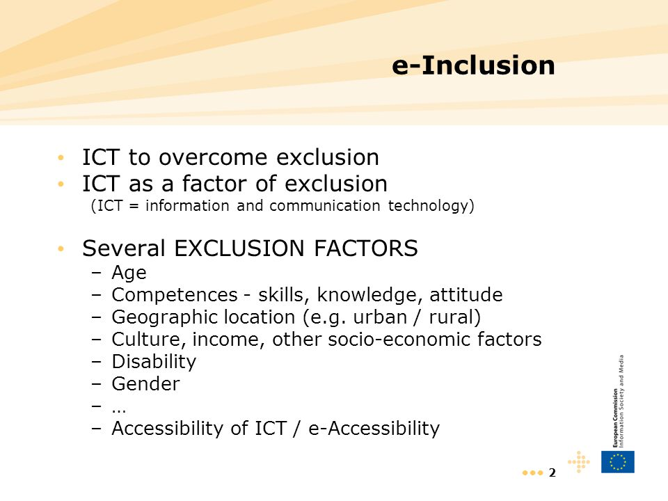 3 EU eInclusion policy in practice Overview of instruments Orientations & support - Documents, e.g.