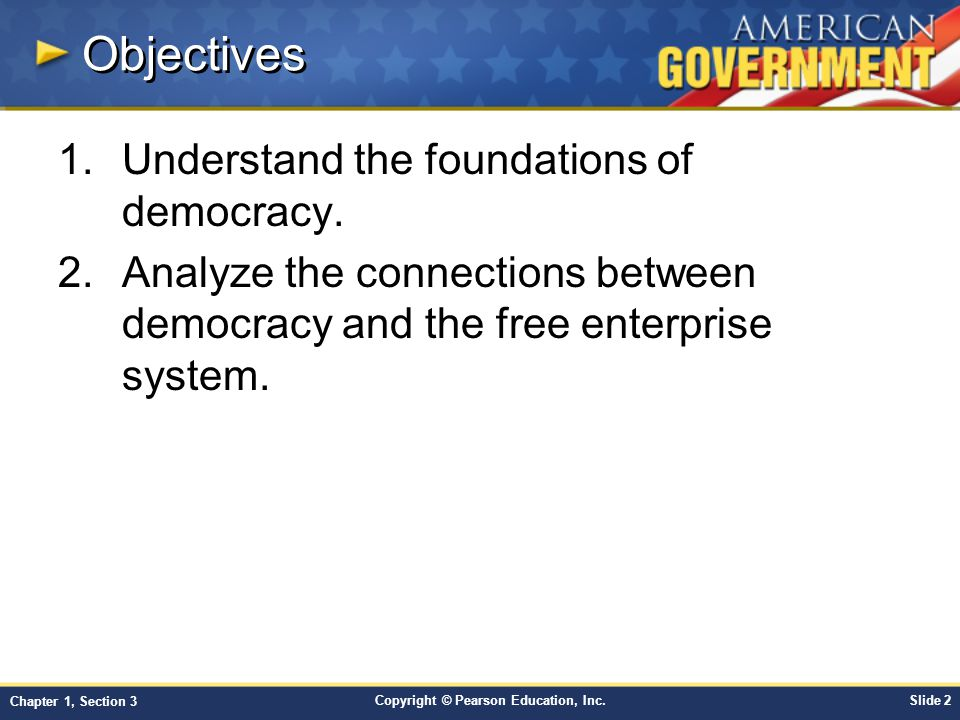Copyright © Pearson Education, Inc.Slide 13 Chapter 1, Section 3 Citizenship Overview DutiesResponsibilities Serving on a jury Serving as a witness Attending school Paying taxes Obeying local, state, and national laws Draft registration Respecting the rights of others Voting Volunteering Participating in civic life Understanding the workings of our government