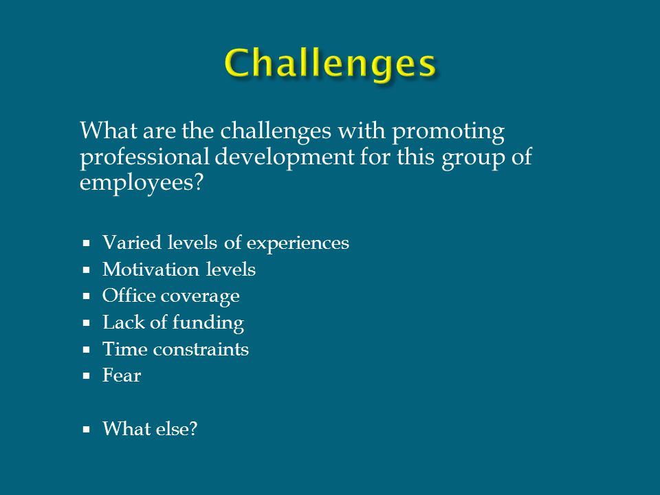 What are the challenges with promoting professional development for this group of employees.