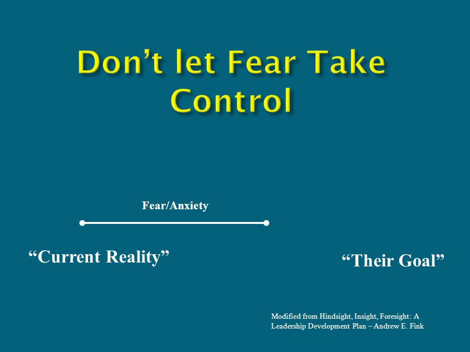 Current Reality Their Goal Fear/Anxiety Modified from Hindsight, Insight, Foresight: A Leadership Development Plan – Andrew E.