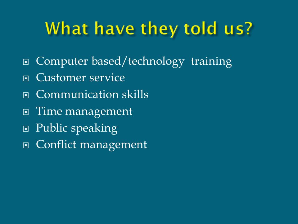  Computer based/technology training  Customer service  Communication skills  Time management  Public speaking  Conflict management