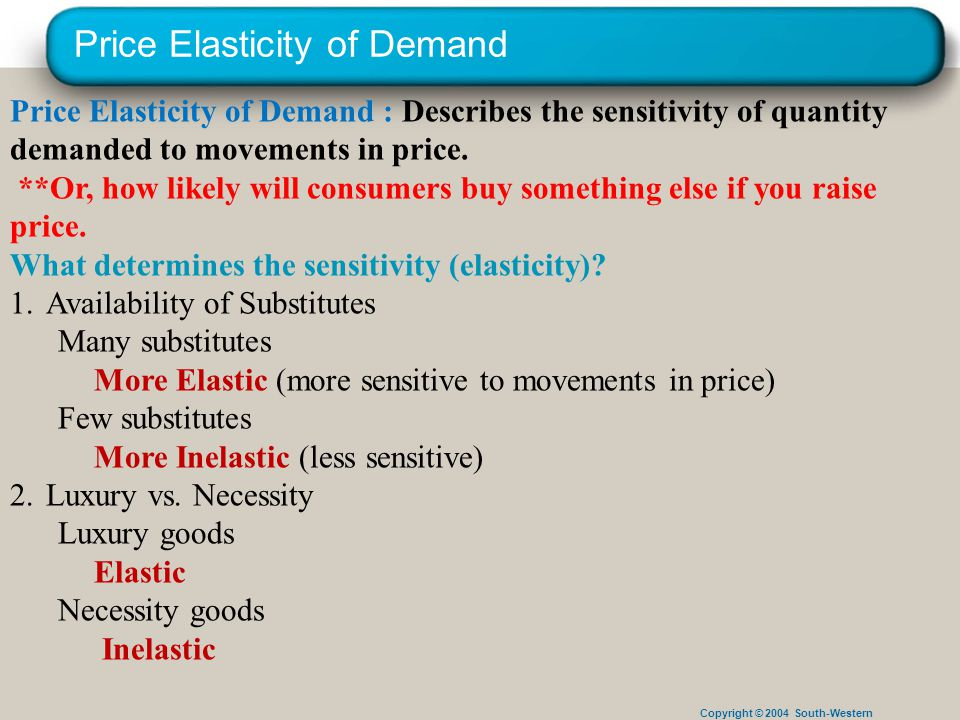 Copyright © 2004 South-Western Price Elasticity of Demand Price Elasticity of Demand : Describes the sensitivity of quantity demanded to movements in price.