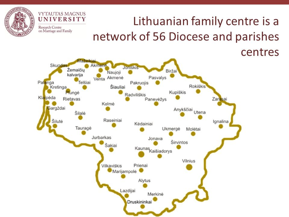 Lithuanian family centre is a network of 56 Diocese and parishes centres