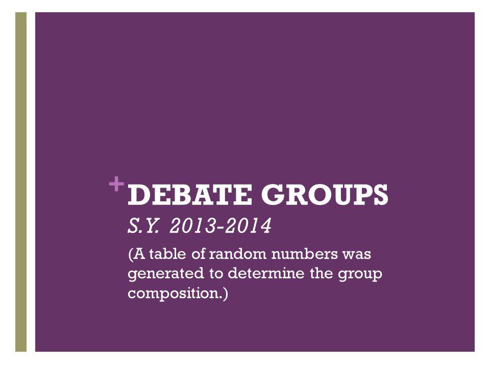 + DEBATE GROUPS S. Y.