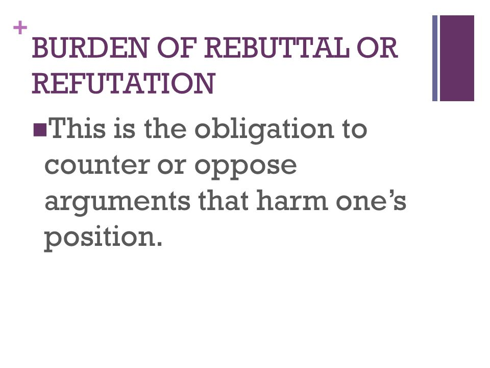 + This is the obligation to counter or oppose arguments that harm one's position.