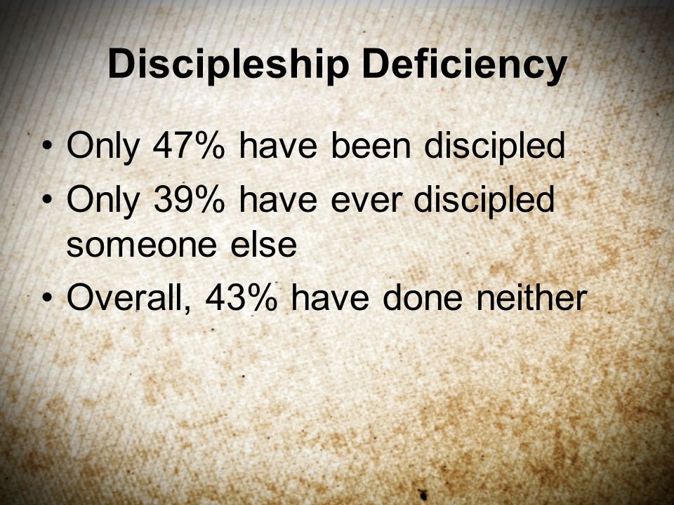 Discipleship Deficiency Only 47% have been discipled Only 39% have ever discipled someone else Overall, 43% have done neither
