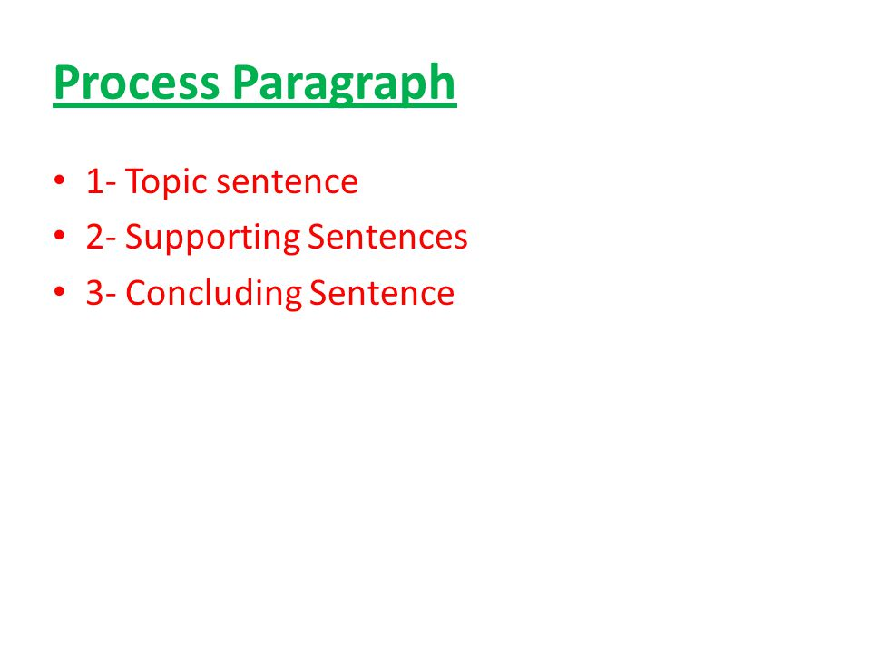 Process Paragraph 1- Topic sentence 2- Supporting Sentences 3- Concluding Sentence