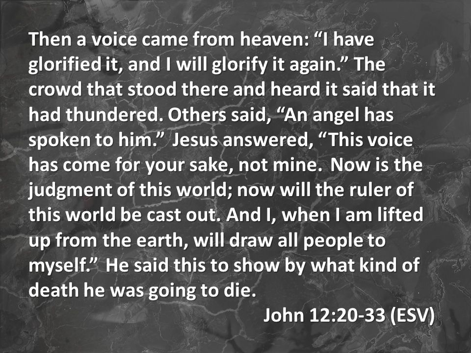 Then a voice came from heaven: I have glorified it, and I will glorify it again. The crowd that stood there and heard it said that it had thundered.