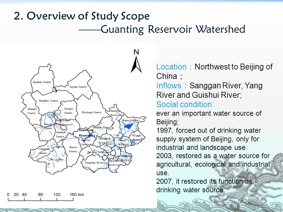 Location : Northwest to Beijing of China ; Inflows : Sanggan River, Yang River and Guishui River; Social condition: ever an important water source of Beijing; 1997, forced out of drinking water supply system of Beijing, only for industrial and landscape use.