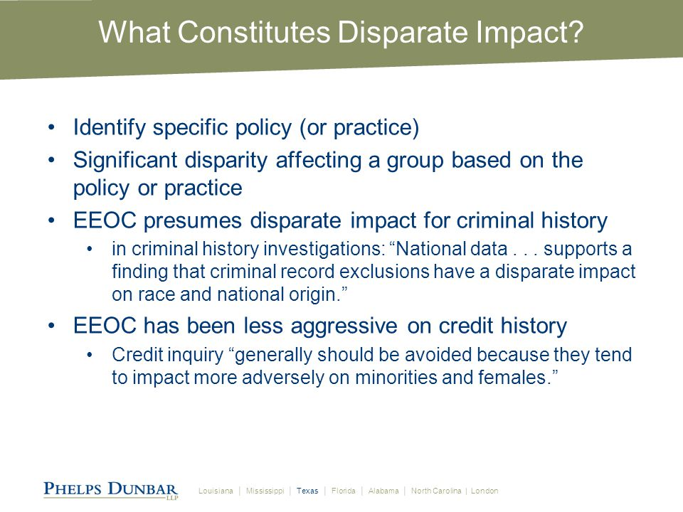 Louisiana │ Mississippi │ Texas │ Florida │ Alabama │ North Carolina | London What Constitutes Disparate Impact.