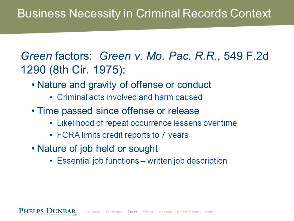 Louisiana │ Mississippi │ Texas │ Florida │ Alabama │ North Carolina | London Business Necessity in Criminal Records Context Green factors: Green v.