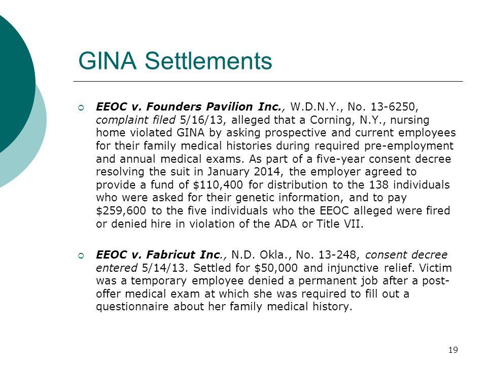 GINA Settlements  EEOC v. Founders Pavilion Inc., W.D.N.Y., No.