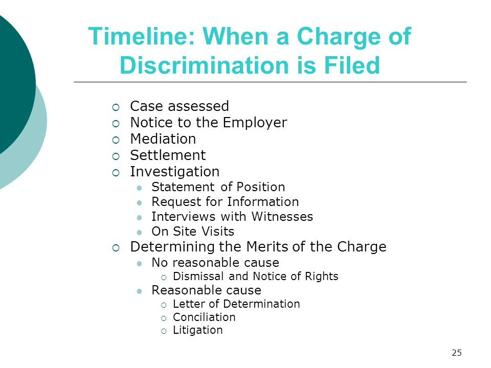 Timeline: When a Charge of Discrimination is Filed  Case assessed  Notice to the Employer  Mediation  Settlement  Investigation Statement of Position Request for Information Interviews with Witnesses On Site Visits  Determining the Merits of the Charge No reasonable cause  Dismissal and Notice of Rights Reasonable cause  Letter of Determination  Conciliation  Litigation 25