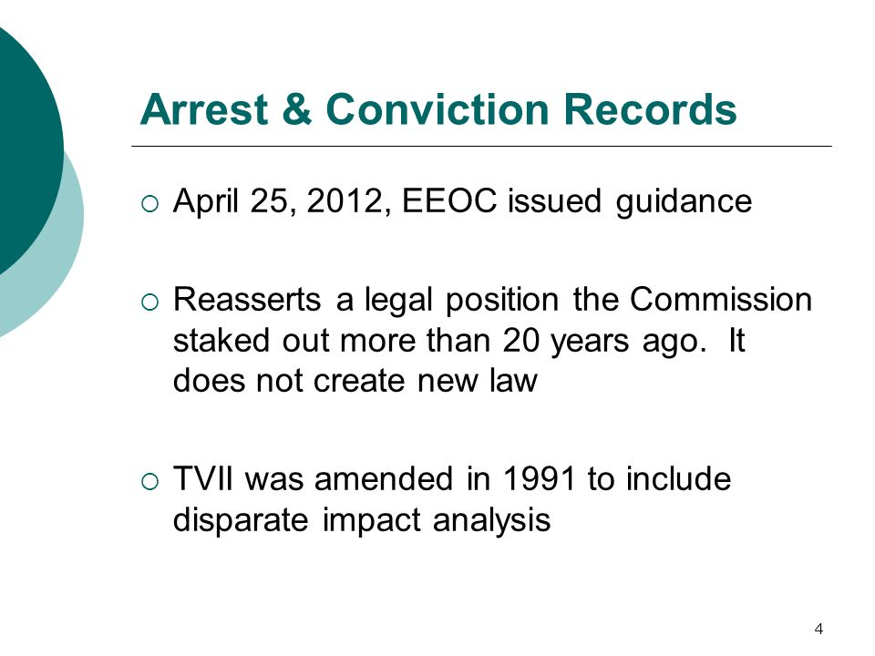 Arrest & Conviction Records  April 25, 2012, EEOC issued guidance  Reasserts a legal position the Commission staked out more than 20 years ago.