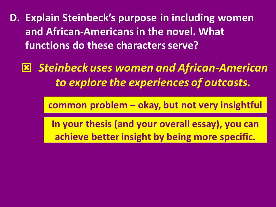 D.Explain Steinbeck's purpose in including women and African-Americans in the novel. What functions do these characters serve?  common problem – okay