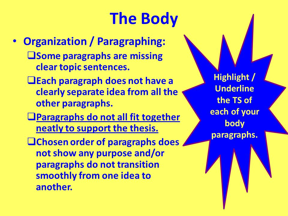 The Body Organization / Paragraphing:  Some paragraphs are missing clear topic sentences.  Each paragraph does not have a clearly separate idea from