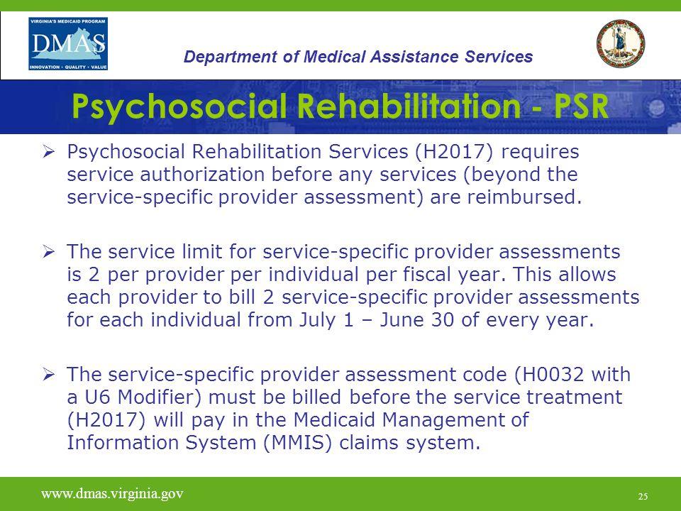 25 Psychosocial Rehabilitation - PSR  Psychosocial Rehabilitation Services (H2017) requires service authorization before any services (beyond the ser