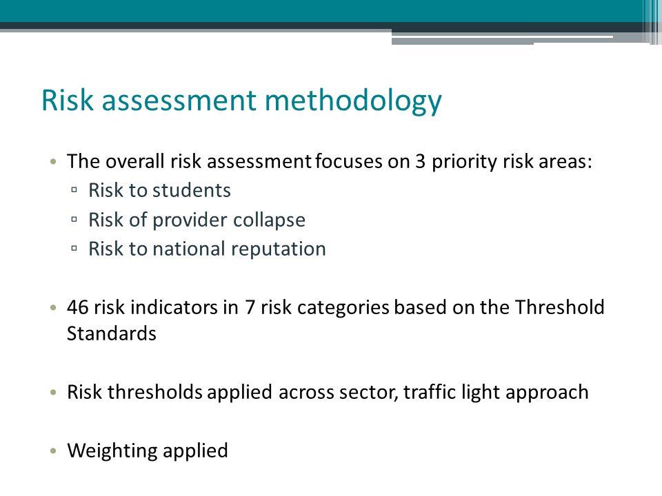 Risk assessment methodology The overall risk assessment focuses on 3 priority risk areas: ▫ Risk to students ▫ Risk of provider collapse ▫ Risk to nat
