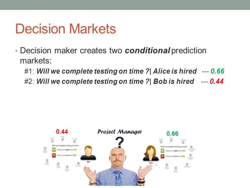Decision Markets DM considers the final prediction (0.44,0.66), then chooses action according to a decision rule : For example: MAX Decision Rule – choose the Action with greater probability to achieve the desired outcome Project Manager .