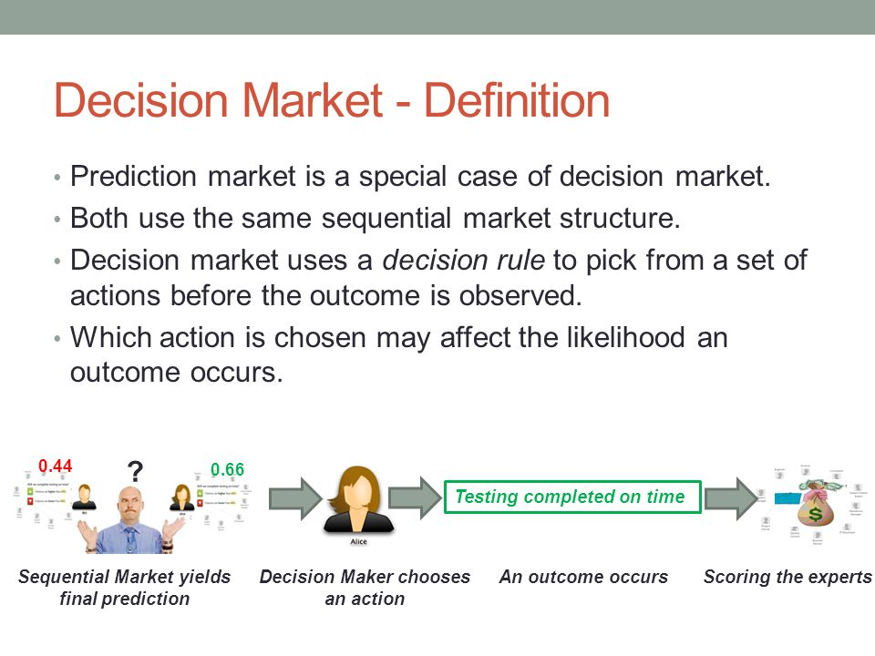 Decision Market - Definition Prediction market is a special case of decision market. Both use the same sequential market structure. Decision market us