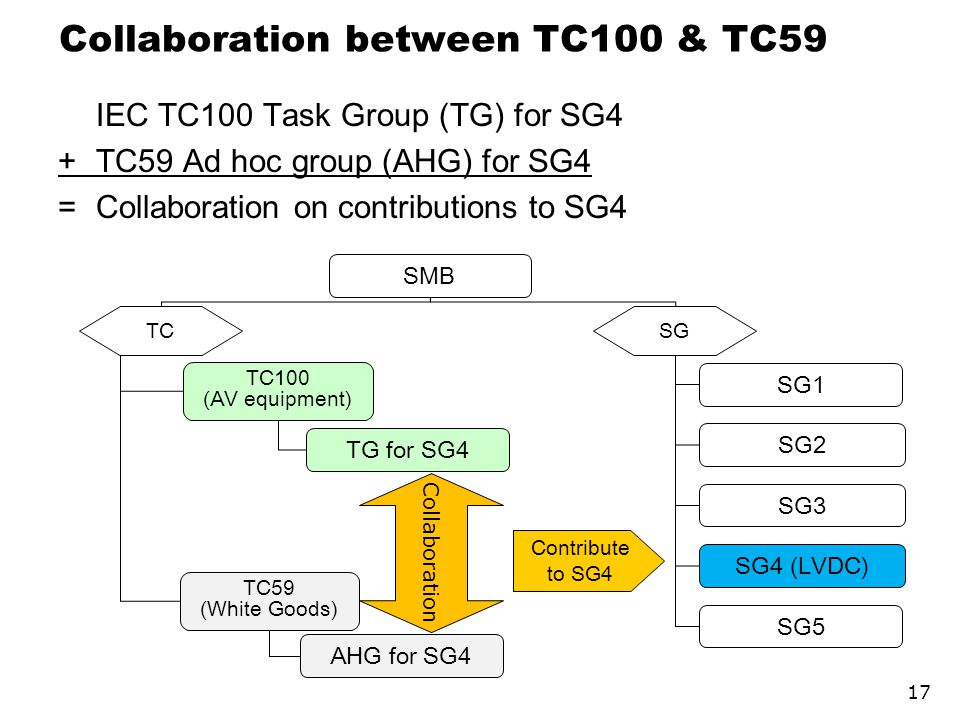 Collaboration between TC100 & TC59 IEC TC100 Task Group (TG) for SG4 +TC59 Ad hoc group (AHG) for SG4 =Collaboration on contributions to SG4 17 SMB TC