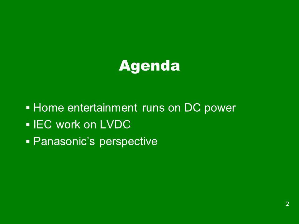 Agenda  Home entertainment runs on DC power  IEC work on LVDC  Panasonic's perspective 2