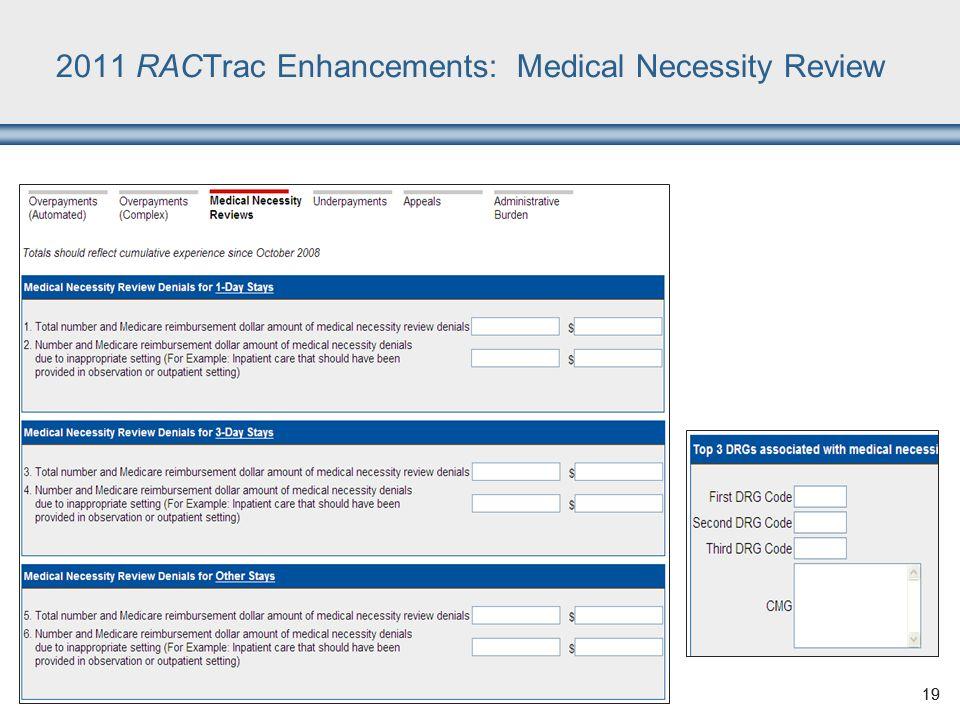 19 2011 RACTrac Enhancements: Medical Necessity Review 19