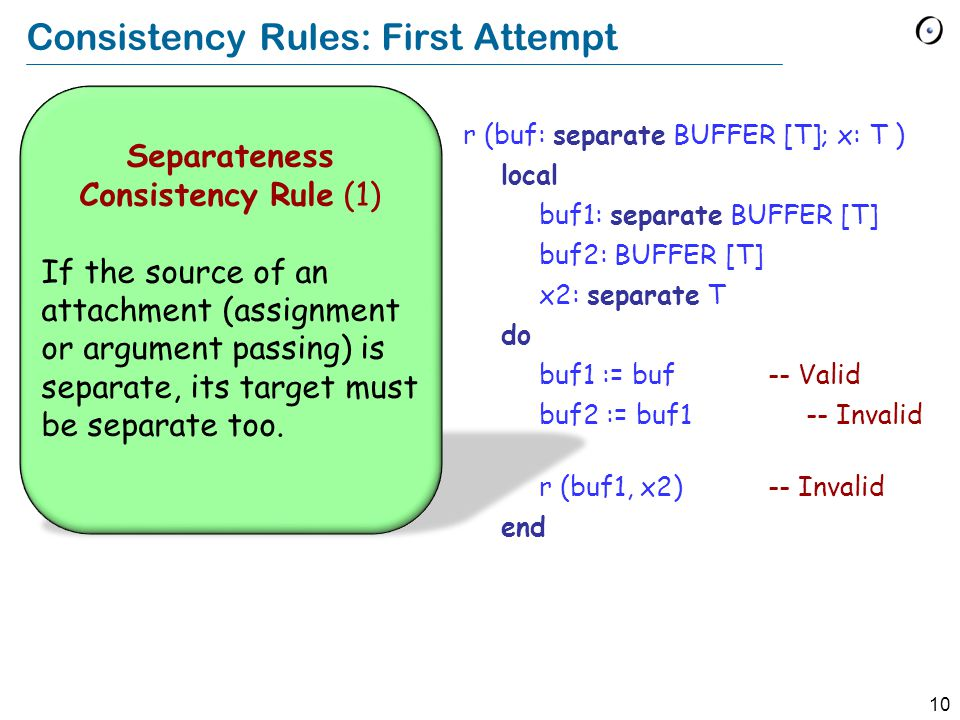 10 Consistency Rules: First Attempt Separateness Consistency Rule (1) If the source of an attachment (assignment or argument passing) is separate, its
