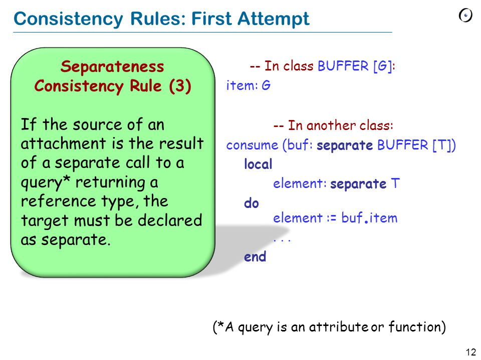 12 Consistency Rules: First Attempt Separateness Consistency Rule (3) If the source of an attachment is the result of a separate call to a query* retu