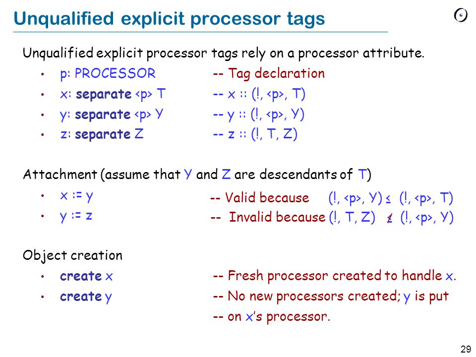 29 Unqualified explicit processor tags Unqualified explicit processor tags rely on a processor attribute.