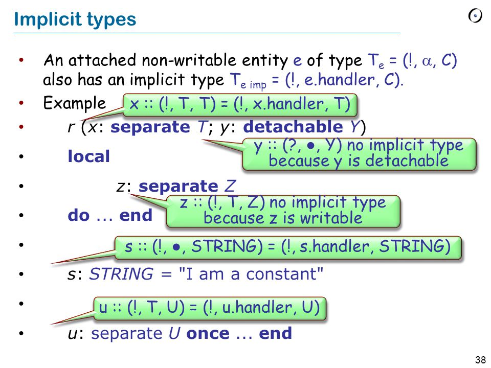 38 Implicit types An attached non-writable entity e of type T e = (!, , C) also has an implicit type T e imp = (!, e.handler, C).