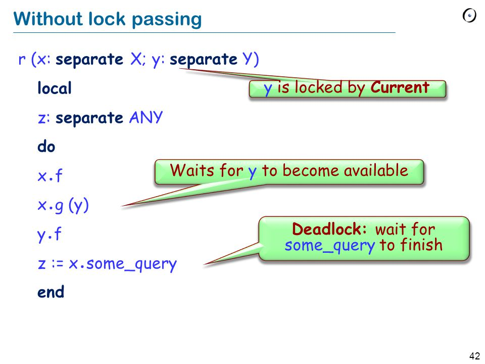 42 Without lock passing r (x: separate X; y: separate Y) local z: separate ANY do x ● f x ● g (y) y ● f z := x ● some_query end Waits for y to become