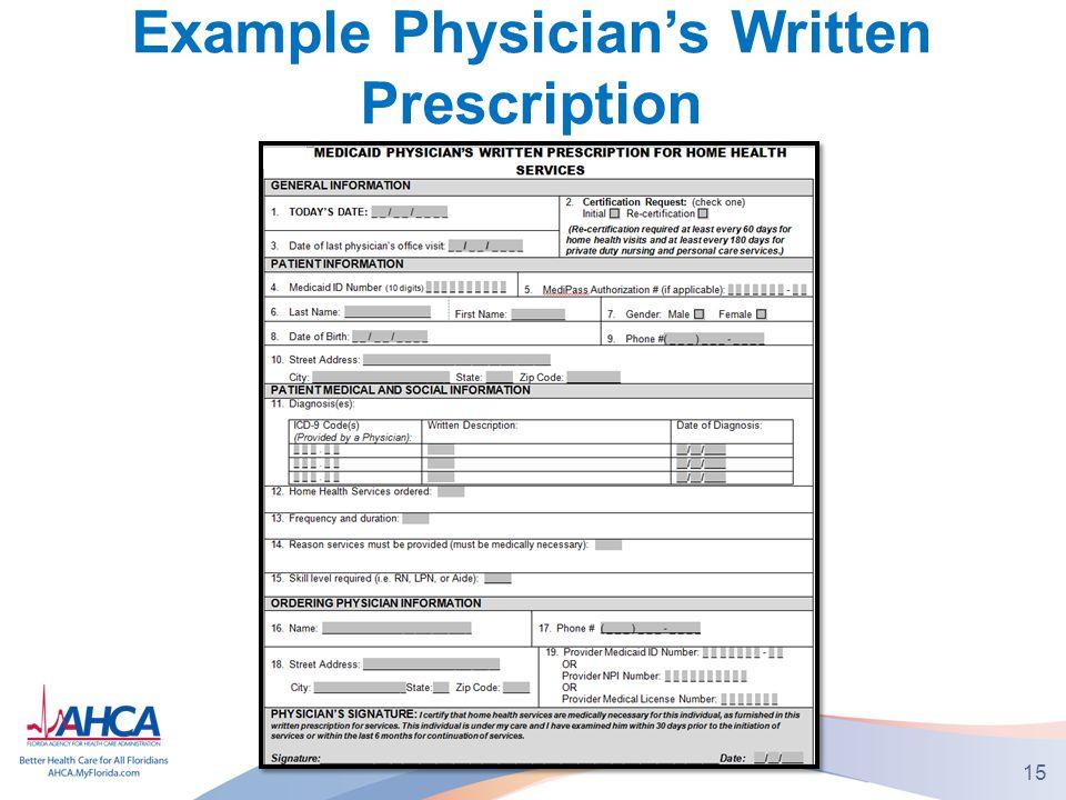 Example Physician's Written Prescription 15
