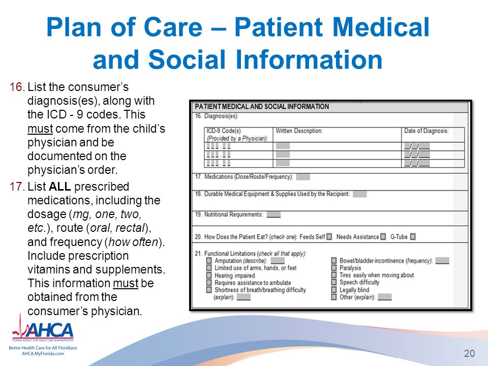 Plan of Care – Patient Medical and Social Information 16.List the consumer's diagnosis(es), along with the ICD - 9 codes.