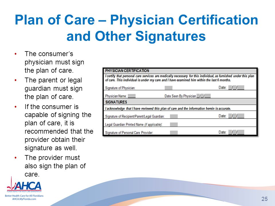 Plan of Care – Physician Certification and Other Signatures The consumer's physician must sign the plan of care.