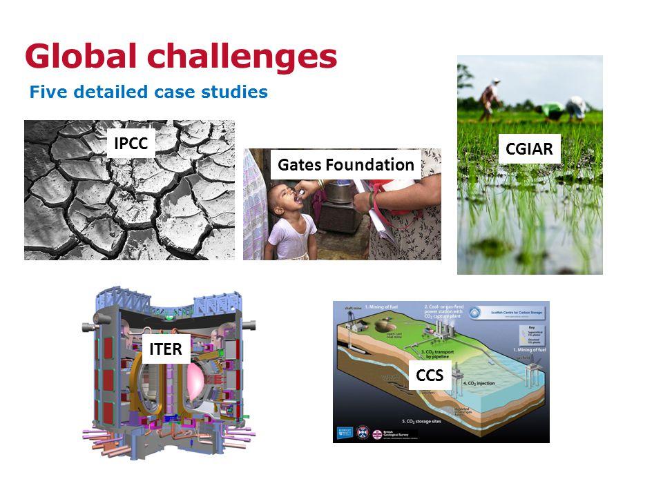 Global challenges Five detailed case studies IPCC Gates Foundation ITER CGIAR CCS