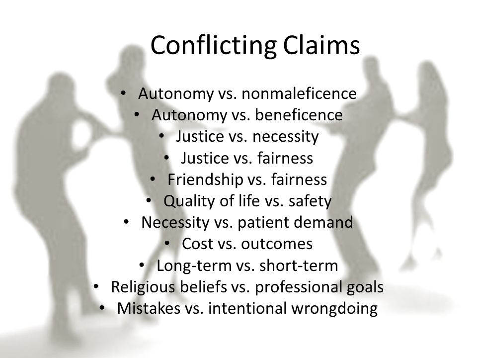 Conflicting Claims Autonomy vs. nonmaleficence Autonomy vs.