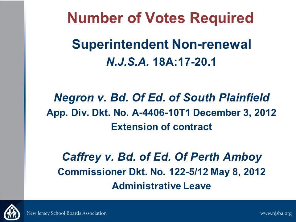 Number of Votes Required Superintendent Non-renewal N.J.S.A.
